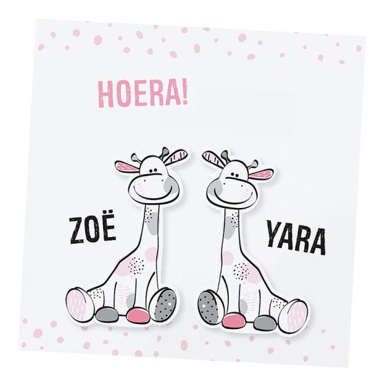 """Geburtsanzeige """"Zwillinge"""" mit fröhlichen Giraffen"""