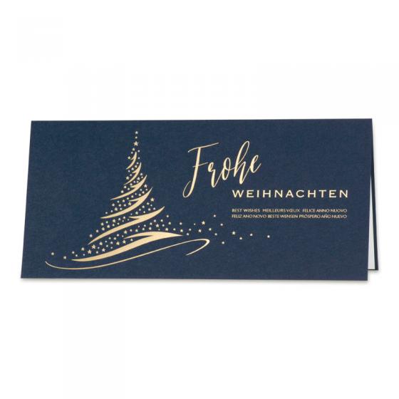 Geschäftliche Weihnachtskarten im internationalen Design mit edler Goldfolienprägung