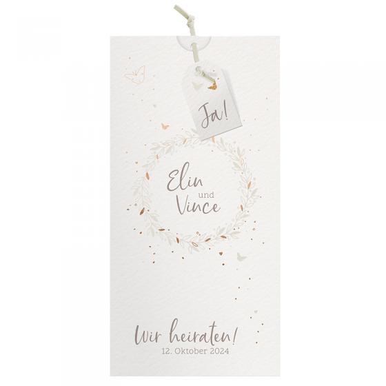 """Hochzeitseinladungen """"Schmetterling"""" mit edler Folienprägung"""