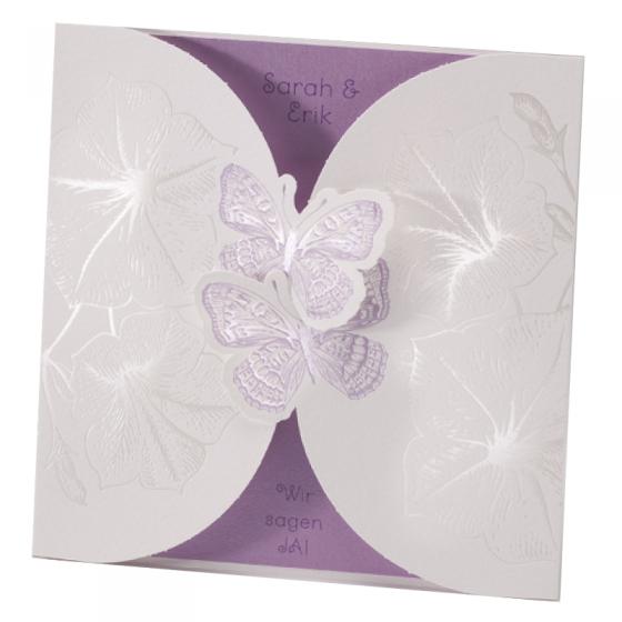 """Hochzeitseinladung """"Schmetterlinge"""" im romantischen Design"""