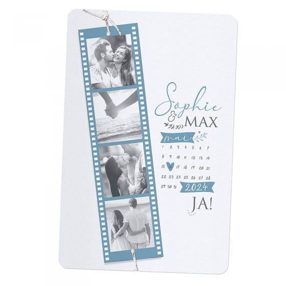 """Hochzeitseinladungen """"Spezialausgabe"""" auf schimmerndem Metallickarton mit extravagantem Filmstreifen für Ihre Fotos an einer pfiffigen Zierkordel"""