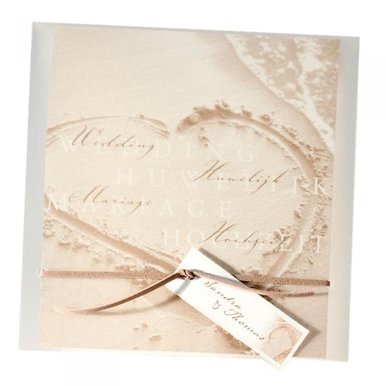 """Hochzeitseinladung """"Strand"""" mit transparentem Umleger und Zierband in Wildlederoptik"""