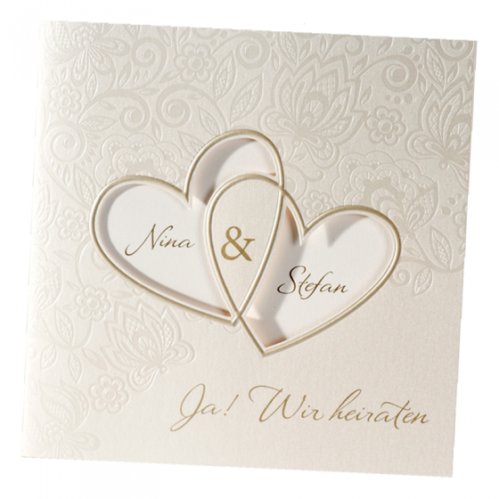 """Hochzeitseinladungen """"Herzen"""" - Ansicht geschlossene Karte"""