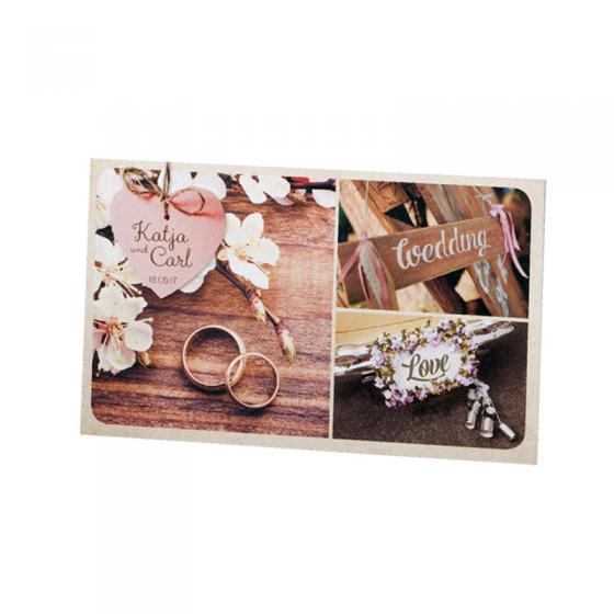 """Hochzeitseinladungen """"Postkarte"""" im wunderbaren Landhausstil"""