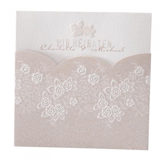 """Hochzeitseinladungen """"Romantisch"""" mit exquisitem Blumenmuster in Blindprägung"""
