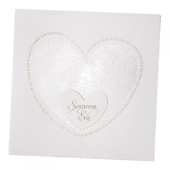 """Romantische Hochzeitseinladung """"Fingerabdruck"""" mit edler Gold- & Perlmuttfolienprägung"""