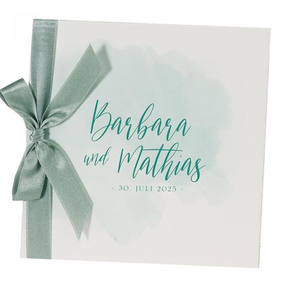 """Hochzeitseinladungen """"Grün & Weiß"""" auf elegantem Büttenkarton"""