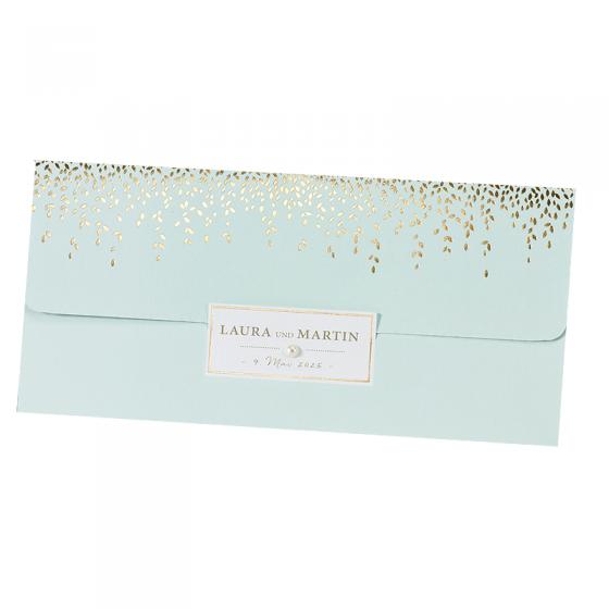 """Hochzeitseinladungen """"Mint"""" im eleganten Design mit edler Goldfolienprägung und bezaubernder Zierperle"""