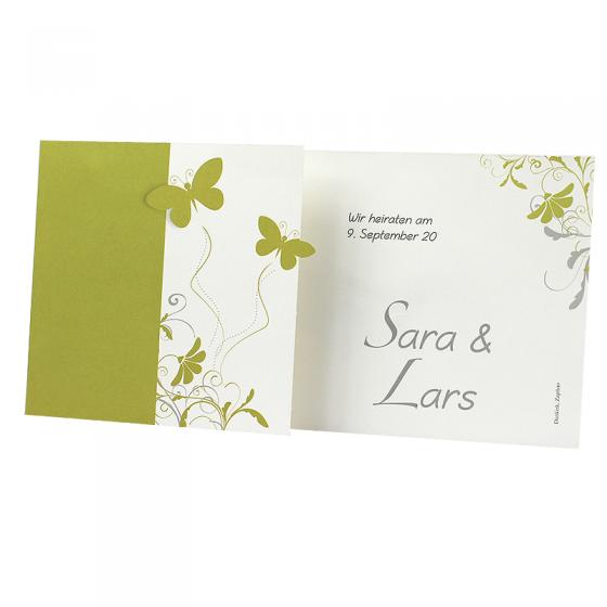 """Hochzeitseinladungen """"Schmetterlinge"""" im romantischen Design"""