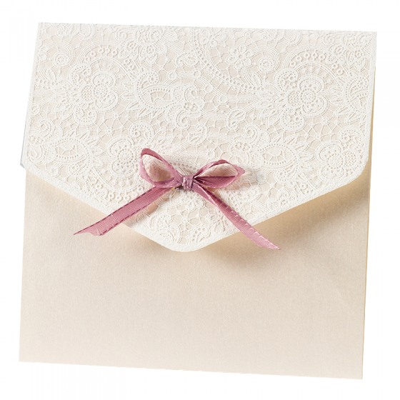 """Romantische Hochzeitseinladungen """"Spitzenoptik"""" mit hübscher Zierschleife"""