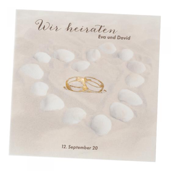 """Hochzeitseinladungen """"Strand"""" im edlen Design"""