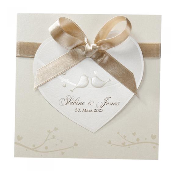 Hochzeitskarten mit edler Zierschleife und Folienprägung