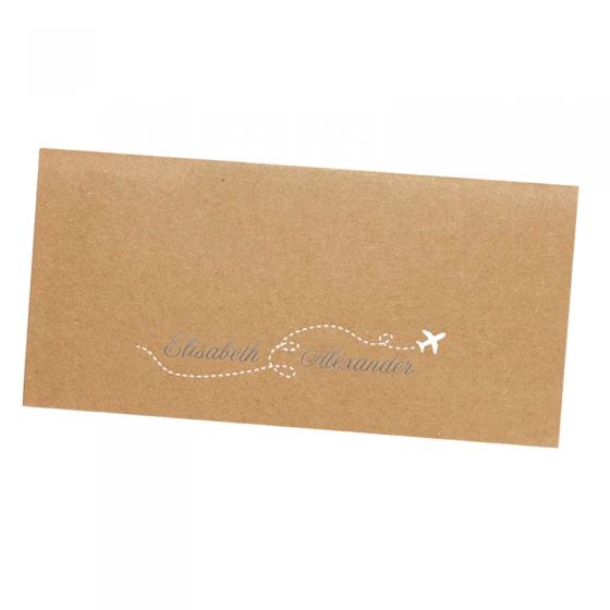 """Hochzeitskarten """"Flugticket - Hochzeitsreise"""" im Taschenlook (Abbildung mit Silberfolieneindruck)"""