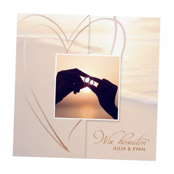 """Hochzeitseinladungen """"Strand"""" auf schimmerndem Metallickarton"""