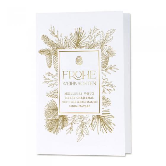 Internationale Weihnachtskarten auf blauem Metallickarton