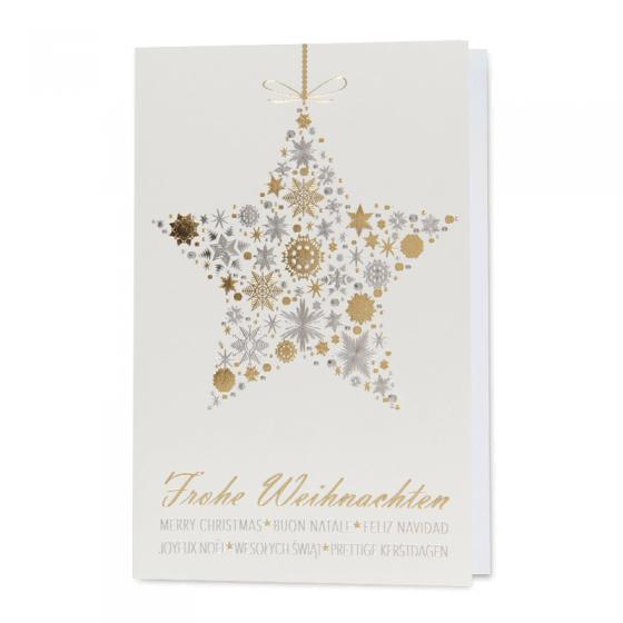 Klassische goldene Weihnachtskarten mit edler Gold- und Silberfolienprägung und internationalen Weihnachtswüschen