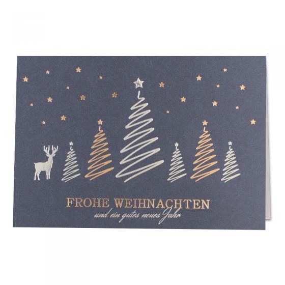 """Klassische Weihnachtskarten """"Blau"""" mit edler Silber- und Kupferfolienprägung"""