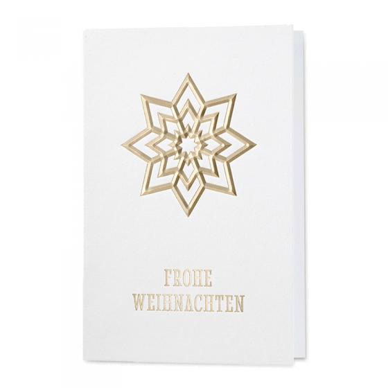 """Klassische Weihnachtskarten """"Stern"""" mit stilisiertem Stern in Goldfolien-Relief"""
