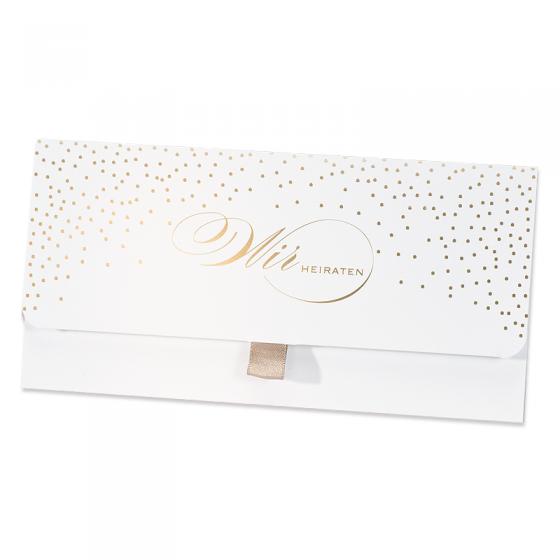 Klassische Hochzeitseinladungen mit edler Goldfolienprägung im modernen Taschen-Design