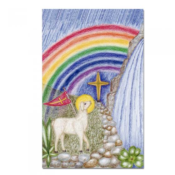 """Kommunionbildchen / Heiligenbildchen """"Gotteslamm"""" im farbenfrohen Design"""