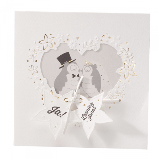 """Lustige Hochzeitseinladungen """"Eulenpaar"""" mit Stanzung in Herzform, edler Goldfolien- und wunderschöner Blindprägung"""