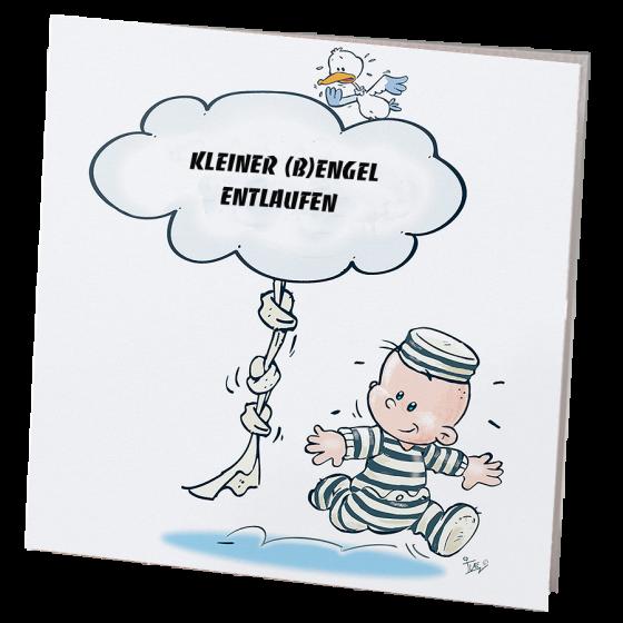 """Lustige Babykarten """"Gauner"""" im fröhlichen Comic-Design"""