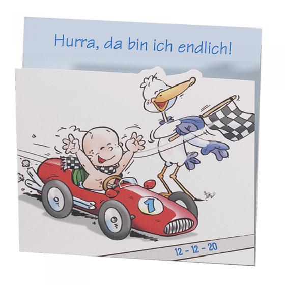 """Lustige Babykarten """"Rennauto"""" im fröhlichen Design"""
