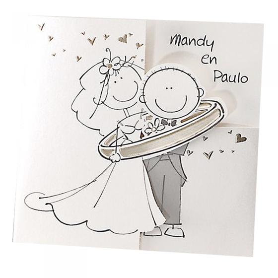 Lustige Hochzeitskarten auf schimmerndem Metallickarton