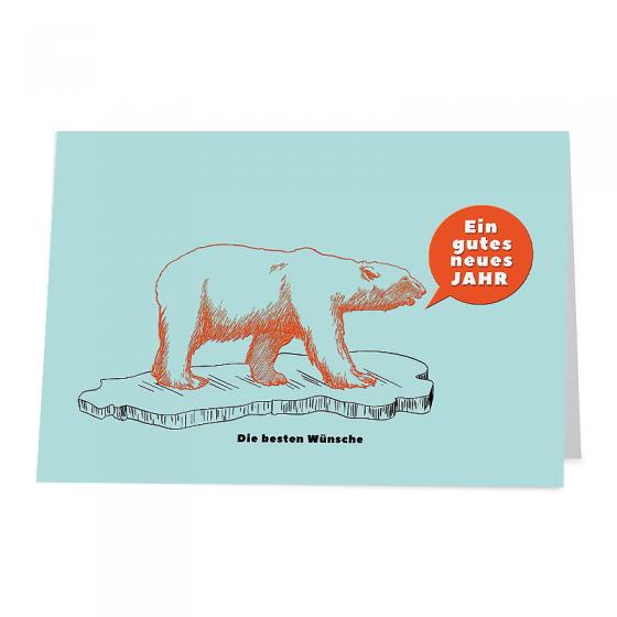 """Lustige Neujahrskarten """"Eisbär"""" im originellen Design"""