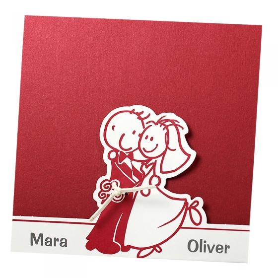 Lustige rote Hochzeitseinladungen auf schimmerndem Metallickarton