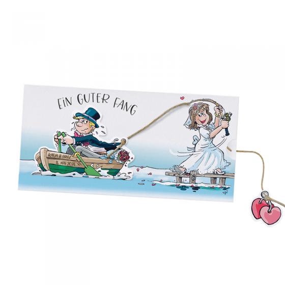 Lustige Vermählungskarten auf schimmerndem Metallickarton zum Herausziehen