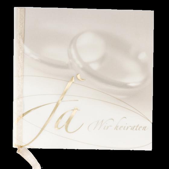 Moderne Hochzeitseinladungen mit edler Goldfolienprägung und zarter Zierschleife