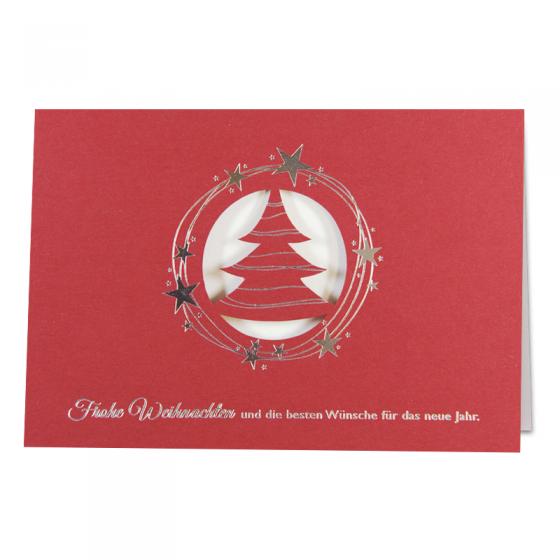 Moderne Weihnachtskarte in Bordeauxrot mit raffinierter Formstanzung und glänzender Silberfolienprägung