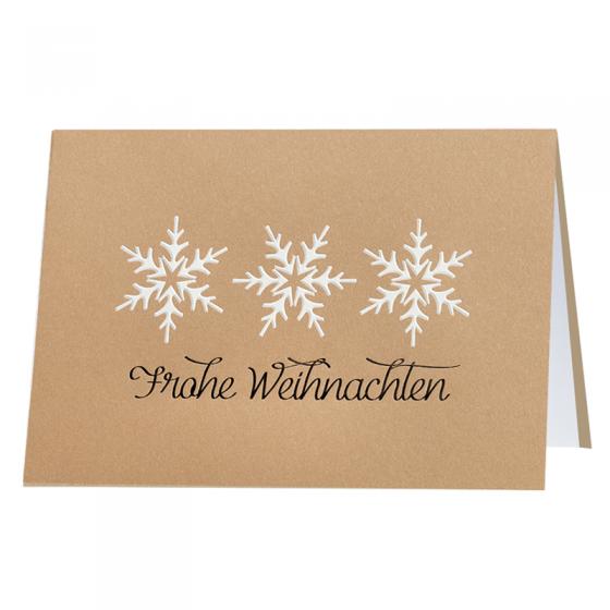 """Moderne Weihnachtskarten """"Frohe Weihnachten"""" aus trendigem Ökokarton mit edler Weiß- und Schwarzfolienprägung"""