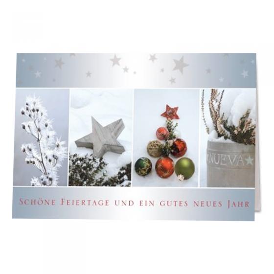 Moderne Weihnachtskarten mit bezaubernder Gestaltung und winterlichen Motiven in Drucklackierung
