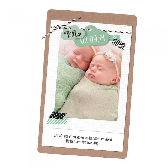 """Moderne Geburtskarten """"Zwillinge"""" im trendigen Design"""