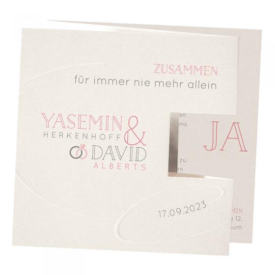 """Modene Hochzeitseinladungen """"Foto"""" auf schimmerndem Metallickarton & Blindprägung"""
