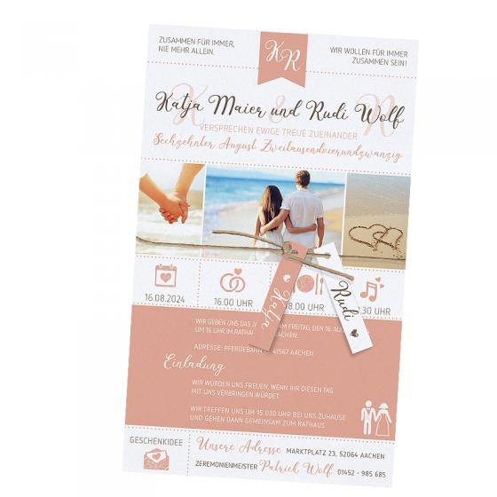 """Moderne Hochzeitskarten """"Strand"""" - mit komplett individueller Gestaltung von Text und Bild"""