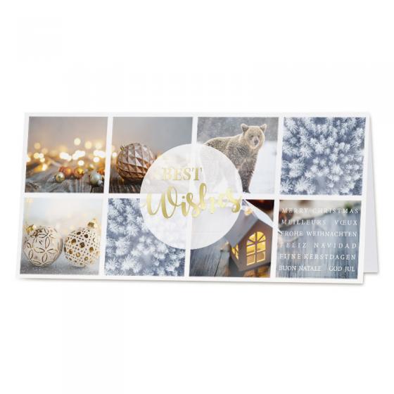 Moderne Weihnachtskarte mit festlicher Goldfolienprägung