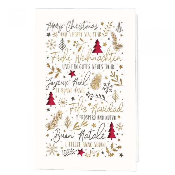 Moderne Weihnachtskarten aus trendigem Naturkarton mit extravaganter Stanzung und glänzender Rotfolienprägung