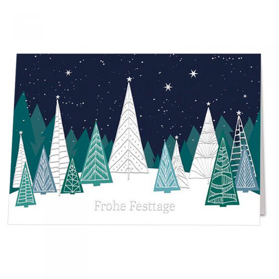"""Moderne Weihnachtskarten """"Grün"""" mit edler Silberfolienprägung"""