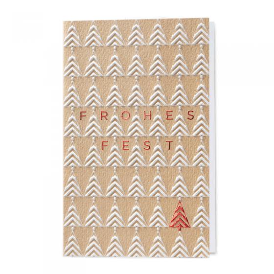 Moderne Weihnachtskarten mit edler Blindprägung & Rotfolienprägung zum Schnäppchenpreis