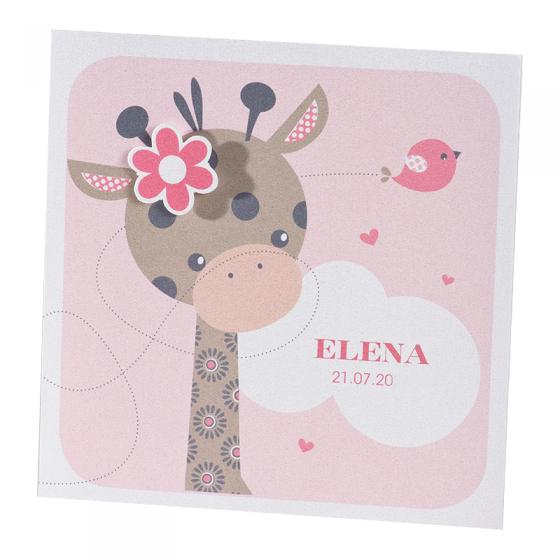 """Niedliche Babykarten """"Giraffe"""" auf weißem Metallickarton & hübschen Applikationen"""