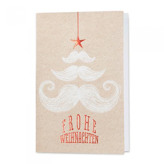 Originelle Weihnachtskarten mit stilisiertem Weihnachtsbaum aus Bärten in Weißfolie und glänzender Rotfolienprägung