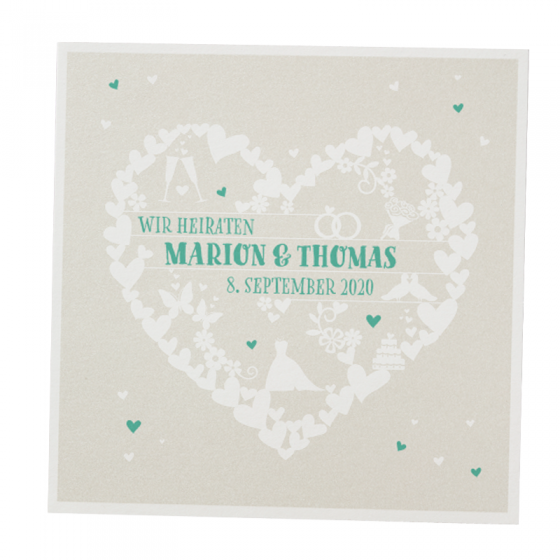 """Romantische Hochzeitskarten """"Moderner Auftritt"""" mit edler Weißfolienprägung"""