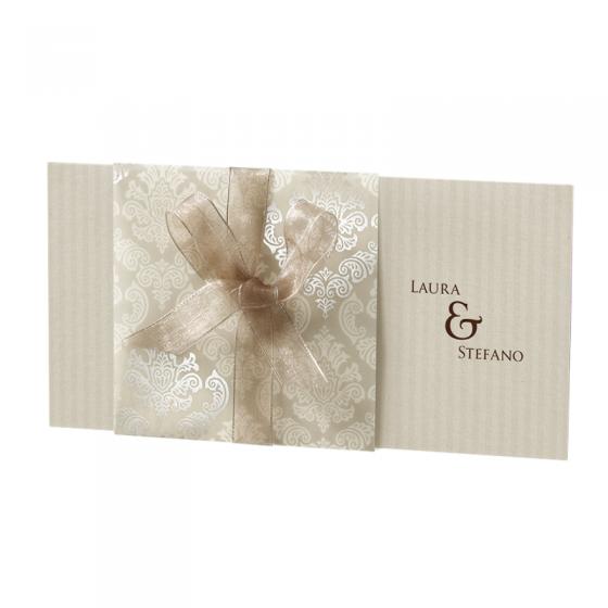 Romantische Hochzeitskarten mit luxuriösem Umleger und zarter Zierschleife