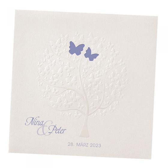 """Romantische Hochzeitskarte """"Schmetterlinge"""" mit raffinierter Stanzung und edlen Prägungen"""