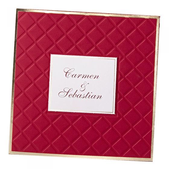 """Rote Hochzeitseinladungen """"Royal"""" mit edler Goldfolien- & Reliefprägung"""