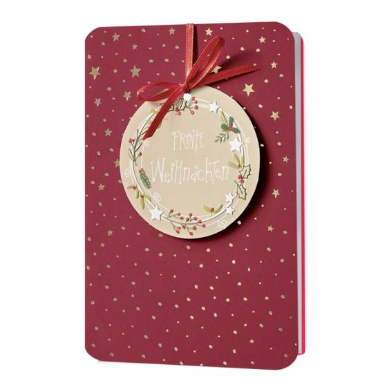 Rote Weihnachtskarten mit edler Gold- & Rotfolienprägung