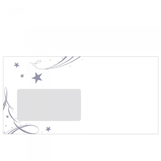Weihnachtliche Schmuckkuvert DIN Lang mit silbernem Weihnachtsmotiv